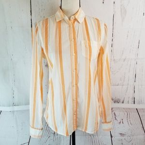 Stylus Button Up Blouse Sz S Orange White Stripe